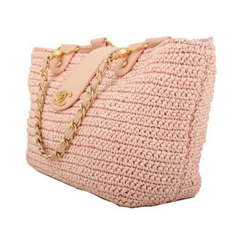 Beige Chanel Shopping Organic Raffia Summer Pink Straw and Leather Tote For Sale