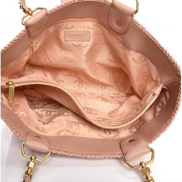 Chanel Shopping Organic Raffia Summer Pink Straw and Leather Tote For Sale 1