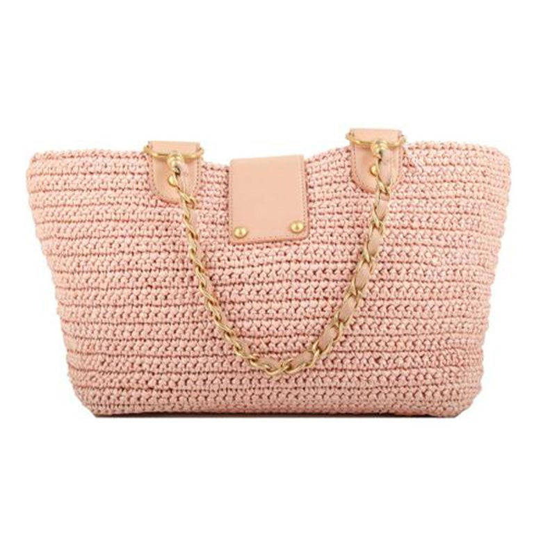 Chanel Shopping Organic Raffia Summer Pink Straw and Leather Tote For Sale 2