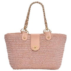 Chanel Shopping Organic Raffia Summer Pink Straw and Leather Tote