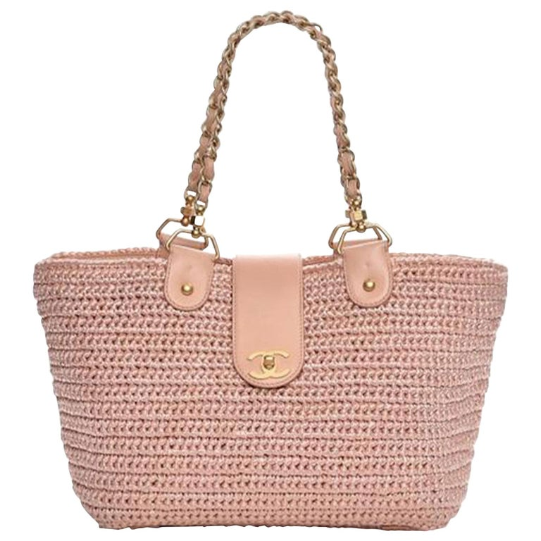 Chanel Shopping Organic Raffia Summer Pink Straw and Leather Tote For Sale