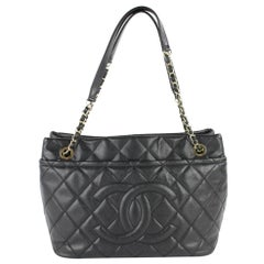 Chanel Shopping Quilted Caviar  Tote 13cz0130 Black Leather Shoulder Bag