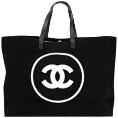 Chanel Shopping Top Handle Tote Cotton Beach Black and White Terry Cloth Bag