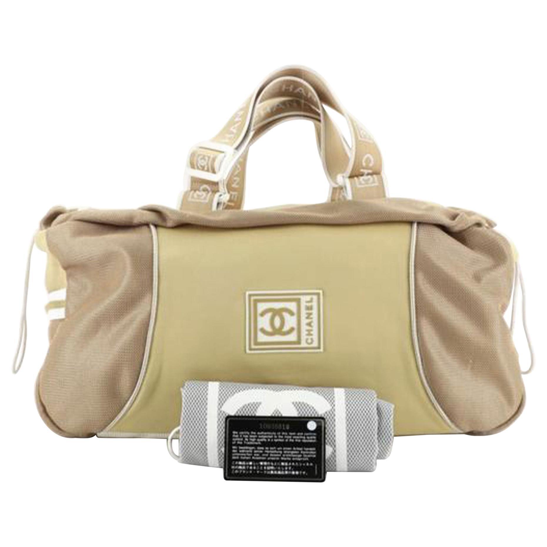 Chanel Shopping Tote Duffle Cc Sport Line Beige Nylon