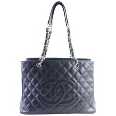 Chanel Shopping Tote Quilted Caviar Grand 11cr0628 Dark Leather Shoulder Bag