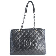 Chanel Shopping Tote Quilted Gst 17cz0828 Black Leather Shoulder Bag