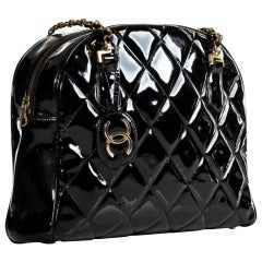 Chanel Shopping Tote Quilted Very Rare Limited Edition Black Patent Leather Bag