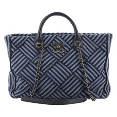 Chanel Shopping Tote Woven Striped Canvas Medium