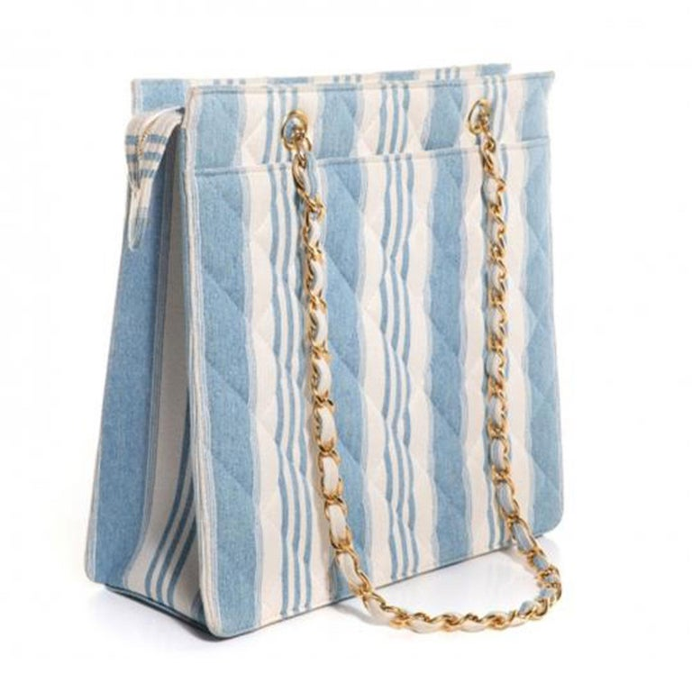 Chanel Vintage Denim 90s Jean Striped Mini Shopping Tote  1997 {VINTAGE 23 Years} Gold hardware Double handle chain Quilted jean denim striped blue and white Zippered main compartment Leather lined interior Main interior zippered pocket Handle Drop: