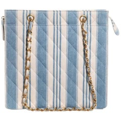Chanel Shopping Vintage 90s Jean Striped Mini Blue and White Denim Tote