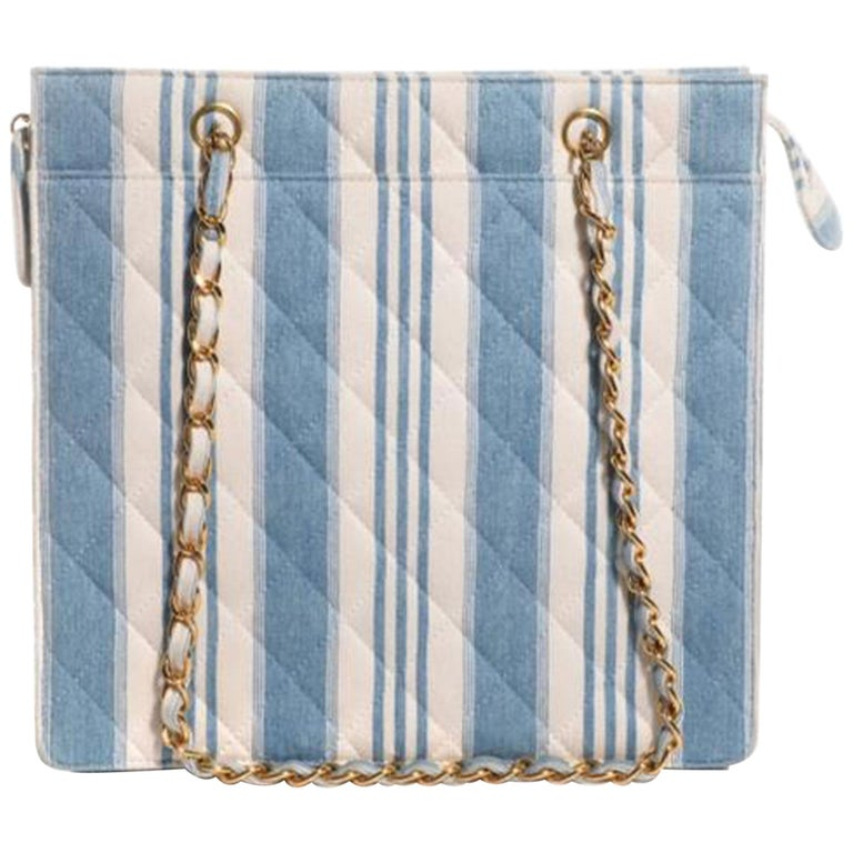 Chanel Shopping Vintage 90s Jean Striped Mini Blue and White Denim Tote For Sale