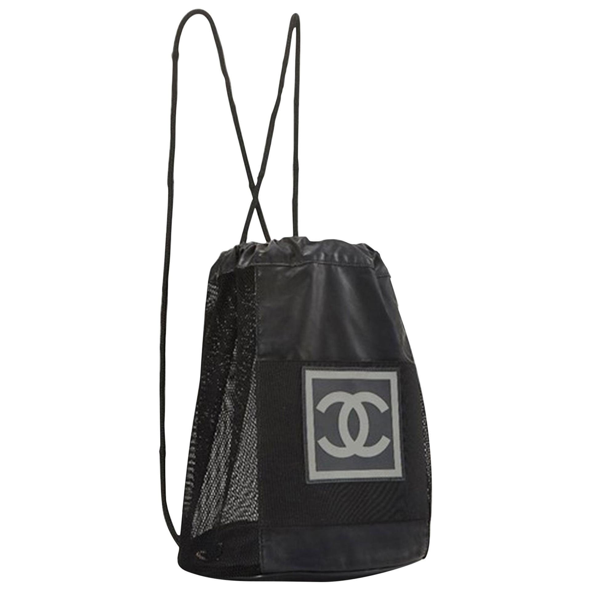 Chanel Shopping Vintage 90s Rare Logo Cc Mesh Sport Tote Black Nylon Backpack