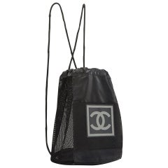 Chanel Shopping Vintage 90s Rare Logo Cc Mesh Sport Tote Black Nylon Backpack