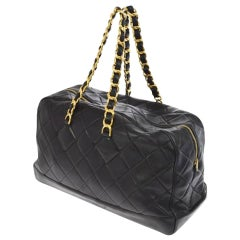 Chanel Shopping XL Quilted Jumbo Vintage 90's Runway Tote Black Calfskin Bag