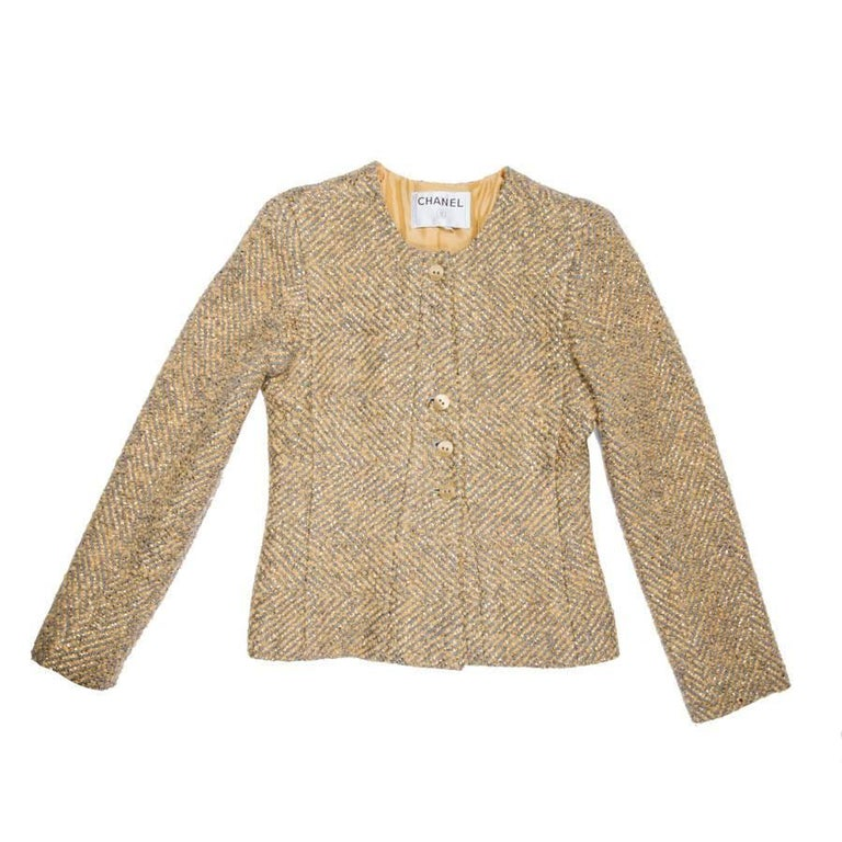 CHANEL Short Jacket in Gray Wool and Golden Lamé Size 36