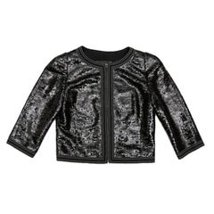 CHANEL Short Jacket with 3/4 Sleeves in Black Sequins Size 34FR