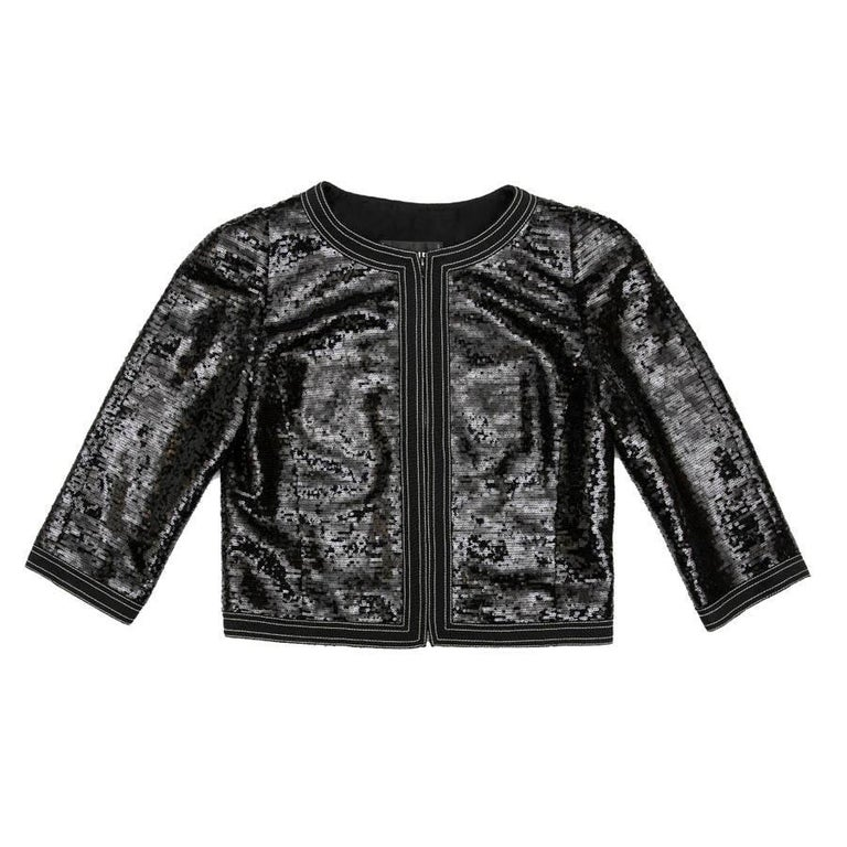 CHANEL Short Jacket with 3/4 Sleeves in Black Sequins Size 34FR For Sale