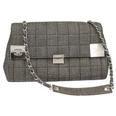 Chanel Shoulder handbag in Denim Grey Canvas and  Silver Hardware.