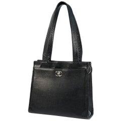 CHANEL shoulder bag Womens tote bag black x silver hardware