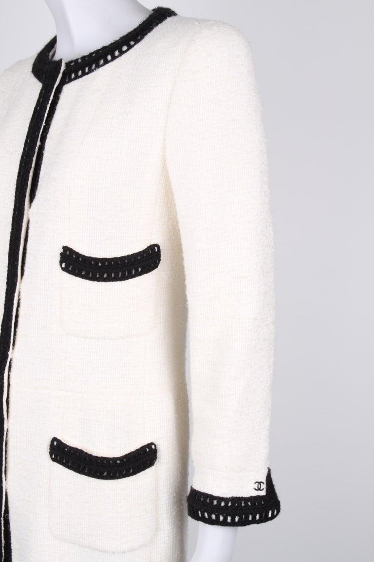 Beige Chanel Signature Bouclé Tweed Black and White Trim Long Coat For Sale