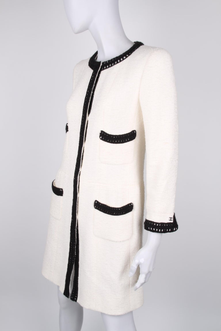 Chanel Signature Bouclé Tweed Black and White Trim Long Coat In Excellent Condition For Sale In Baarn, NL