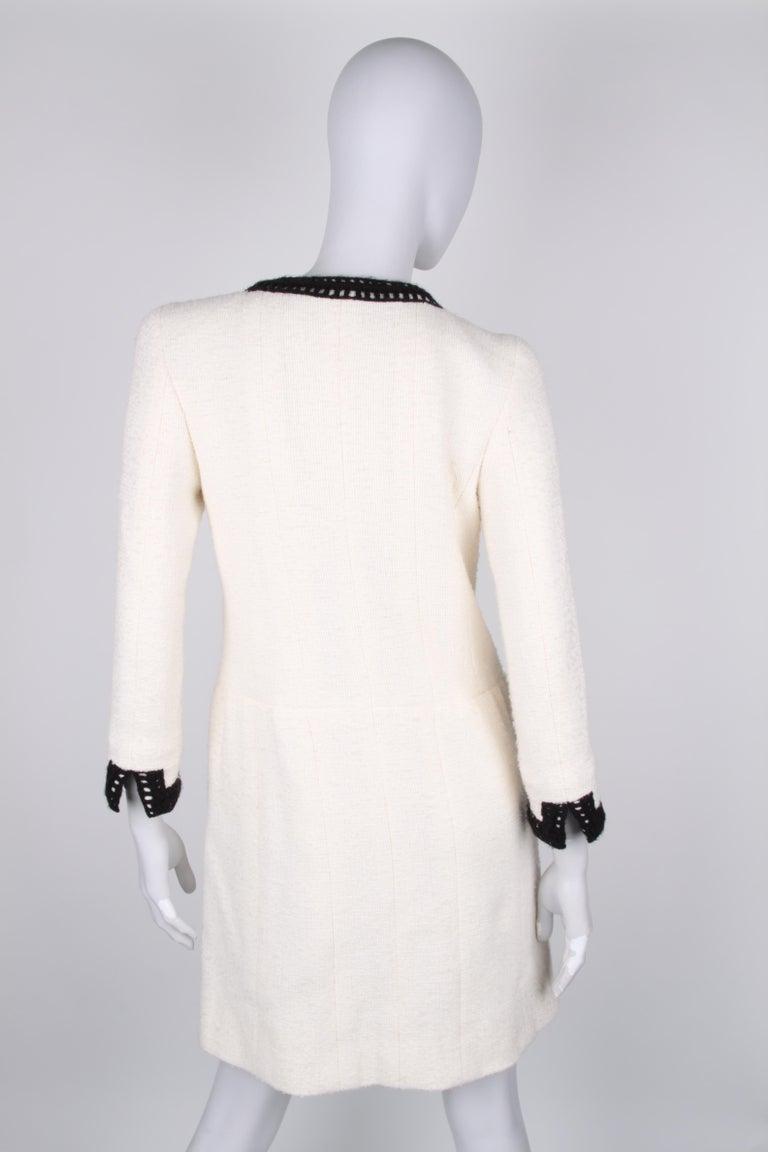 Women's Chanel Signature Bouclé Tweed Black and White Trim Long Coat For Sale