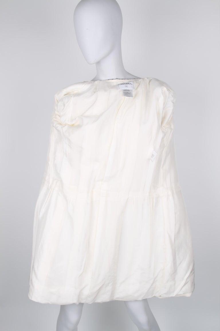 Chanel Signature Bouclé Tweed Black and White Trim Long Coat For Sale 1