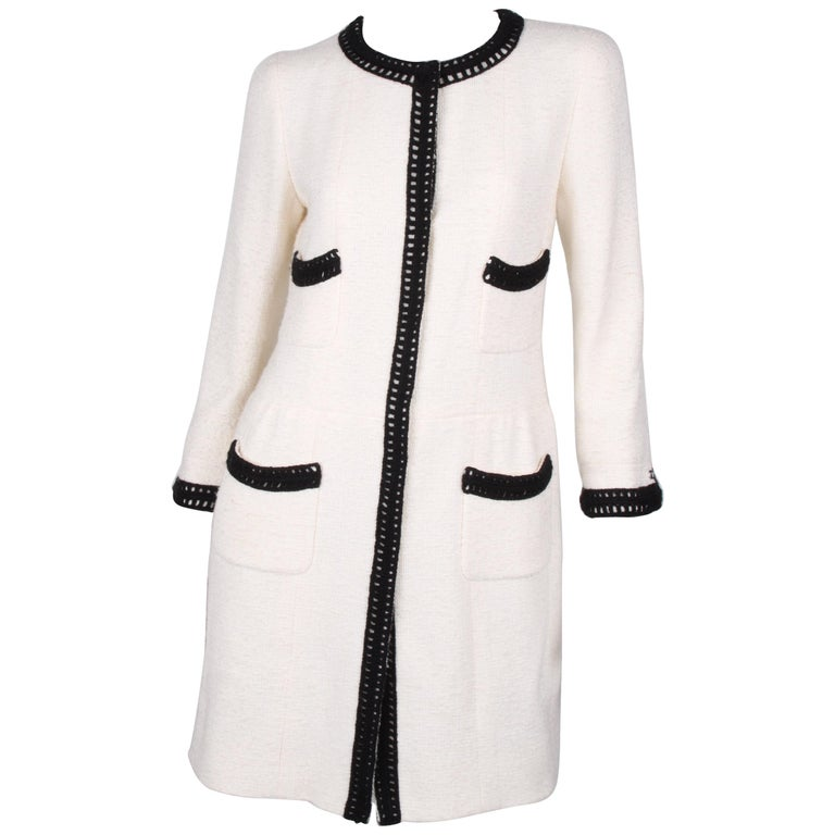 Chanel Signature Bouclé Tweed Black and White Trim Long Coat For Sale