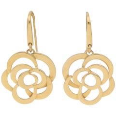 Chanel Signature Camellia Flower Drop Earrings in 18 Karat Yellow Gold
