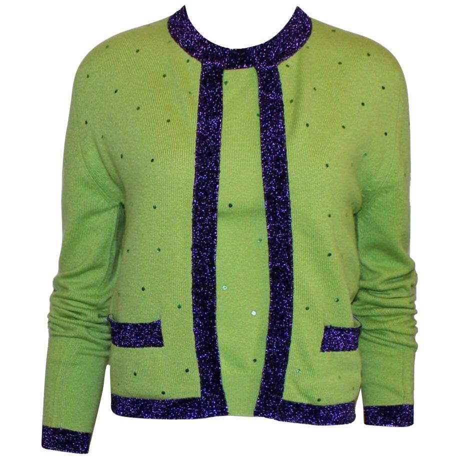 Chanel Signature Cashmere Sequin CC Logo Button Cardigan Jacket Top Twin Set