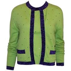 Chanel Signature Cashmere CC Logo Button Cardigan Jacket Top Twin Set