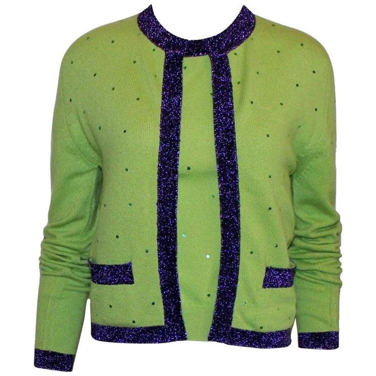Chanel Signature Cashmere CC Logo Button Cardigan Jacket Top Twin Set For Sale