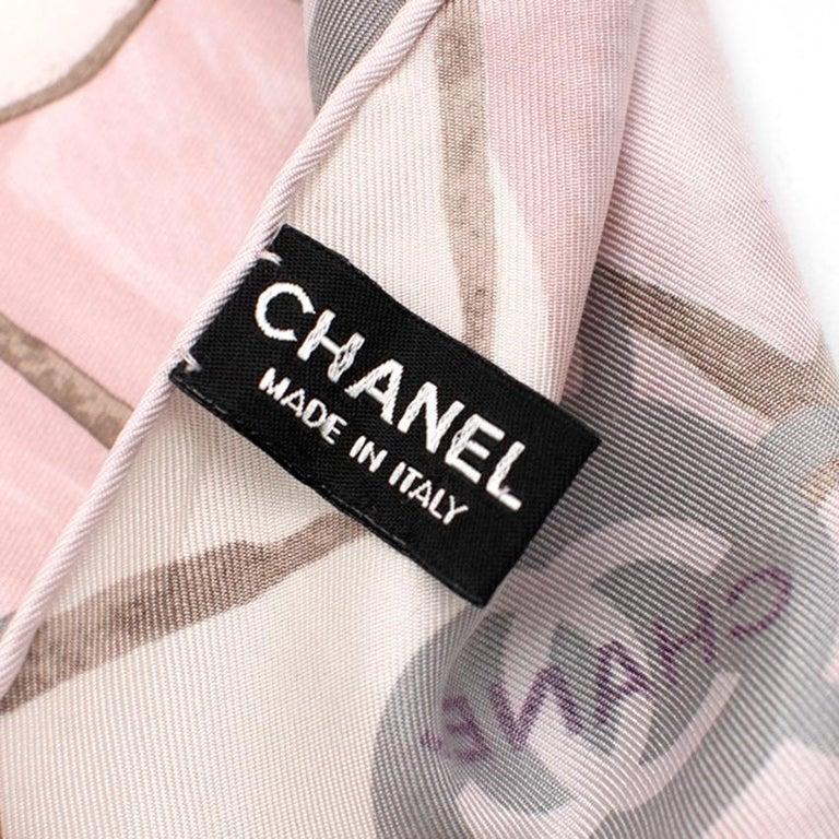 Chanel Silk Camellia Diamond CC Scarf In Excellent Condition For Sale In London, GB