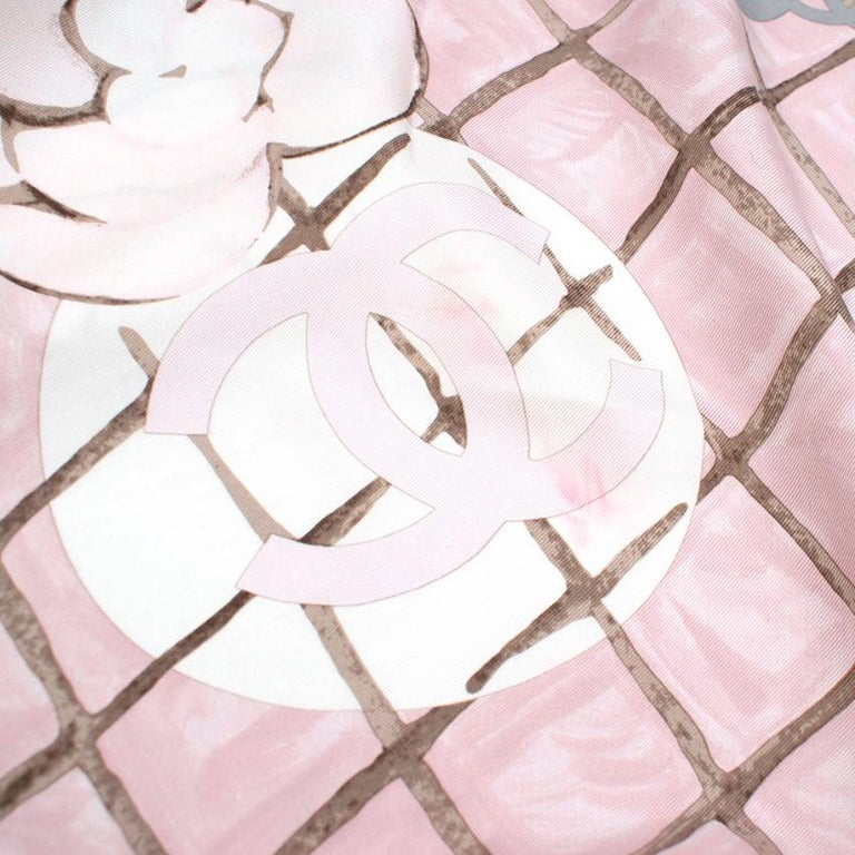 Women's or Men's Chanel Silk Camellia Diamond CC Scarf For Sale