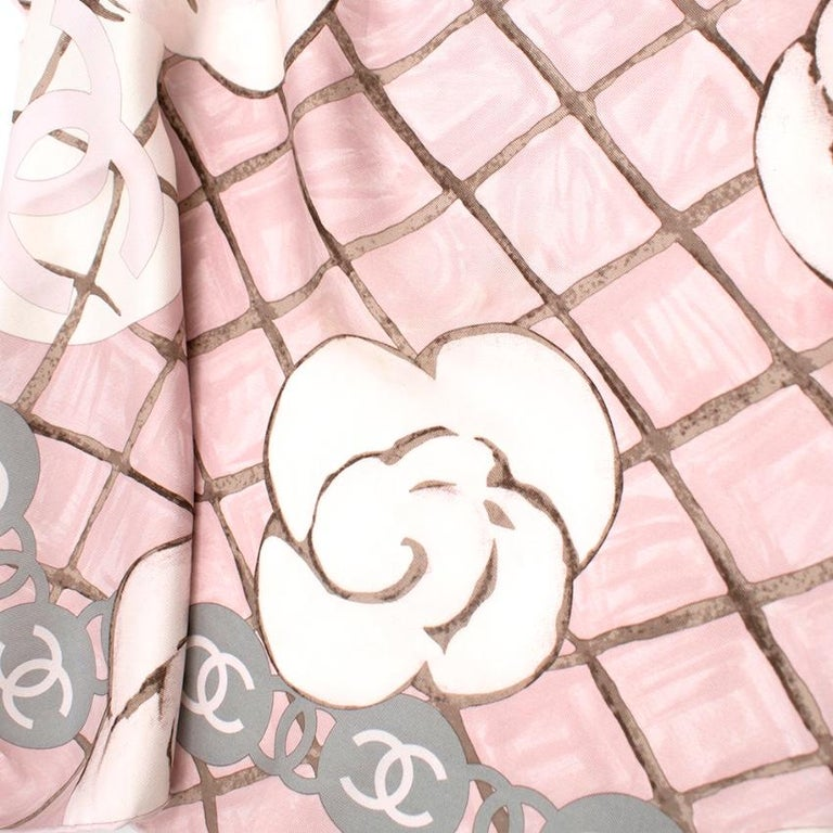 Chanel Silk Camellia Diamond CC Scarf For Sale 1