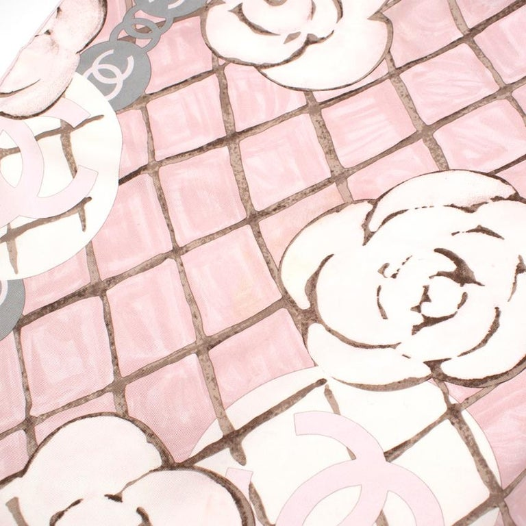 Chanel Silk Camellia Diamond CC Scarf For Sale 2