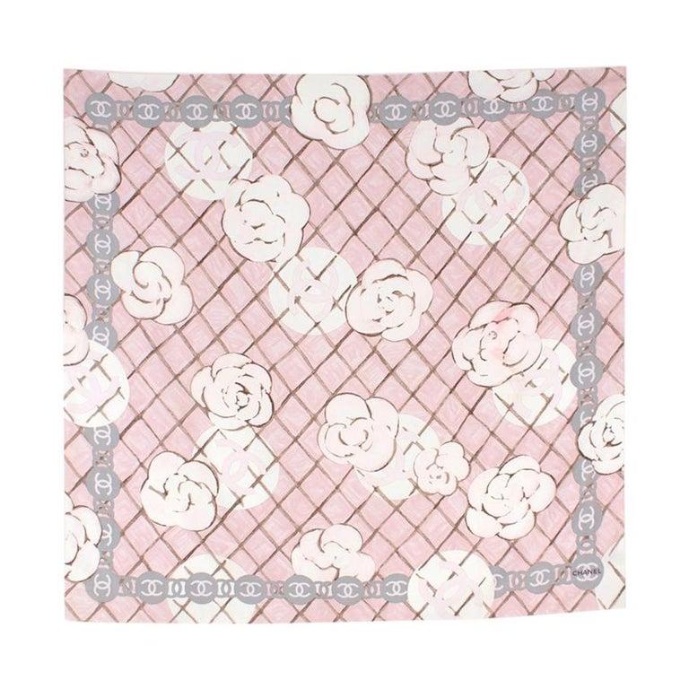 Chanel Silk Camellia Diamond CC Scarf For Sale