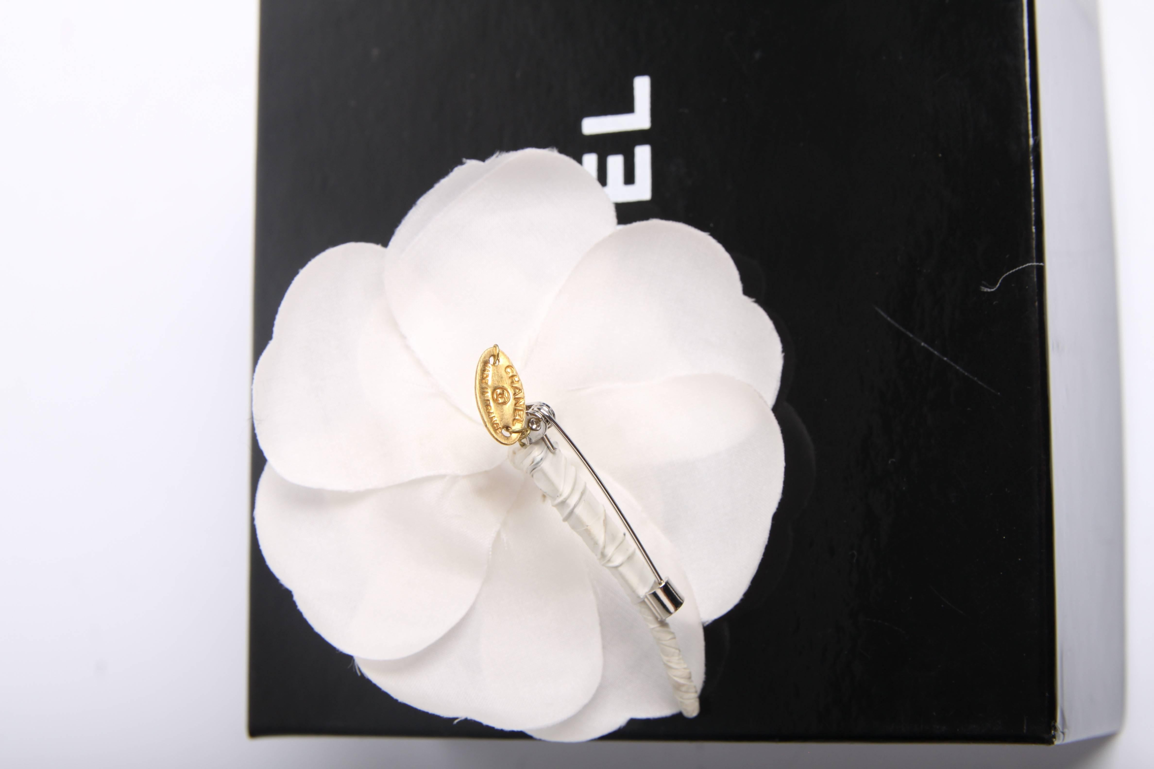 Chanel Silk Camellia Flower Brooch Pin White At 1stdibs