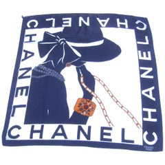 Chanel Silk Hand Rolled Graphic Print Scarf Circa 1990s