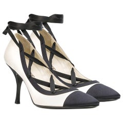 Chanel Silk & Leather Lace-up Court Pumps