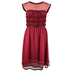 Chanel Silk Leather Trim Tulle Dress 38