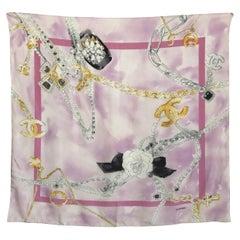 Chanel Silk Scarf Shawl Bijoux Jewelry Pearls CC Logo 34in