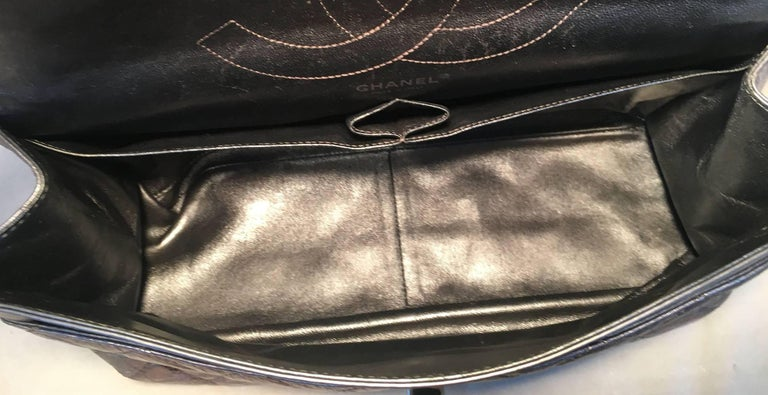 Chanel Silver Aged Calfskin 2.55 Reissue 227 Double Flap Classic Shoulder Bag For Sale 6