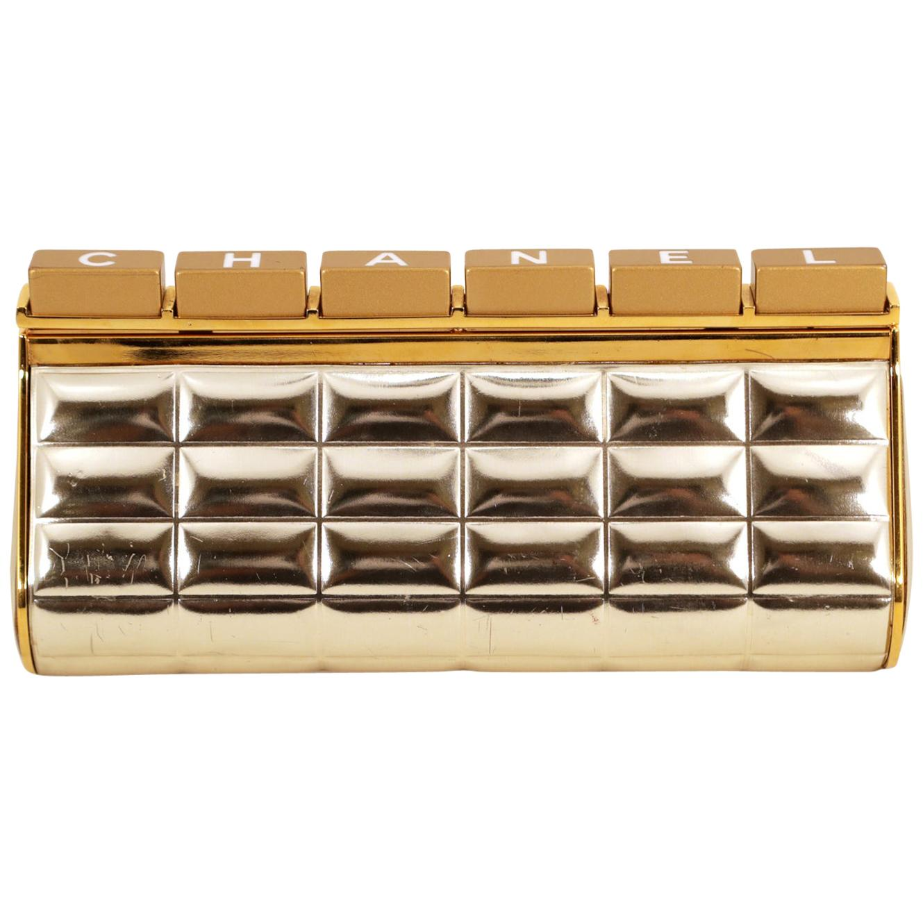Chanel Silver and Gold Keyboard Clutch