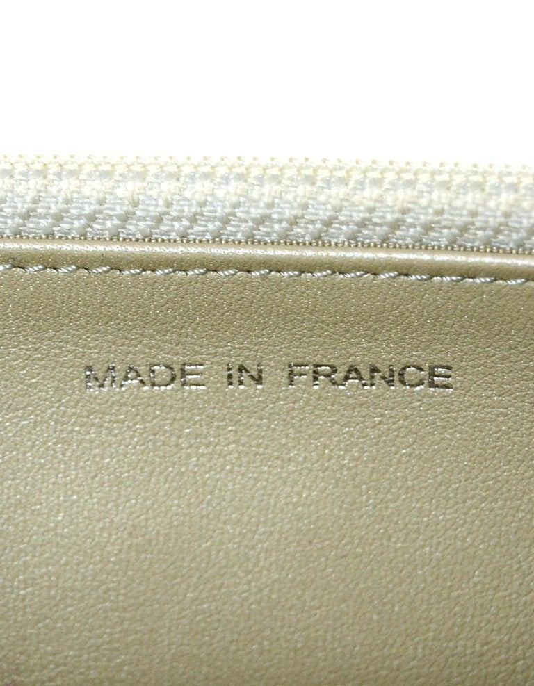 Chanel Silver Caviar Leather Wallet On A Chain WOC Crossbody Bag For Sale 6