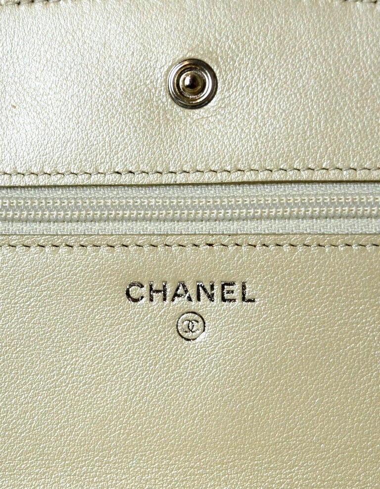 Chanel Silver Caviar Leather Wallet On A Chain WOC Crossbody Bag For Sale 5