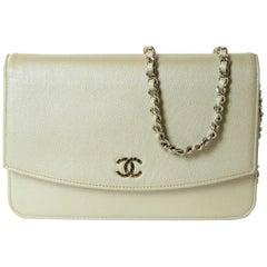 Chanel Silver Caviar Leather Wallet On A Chain WOC Crossbody Bag