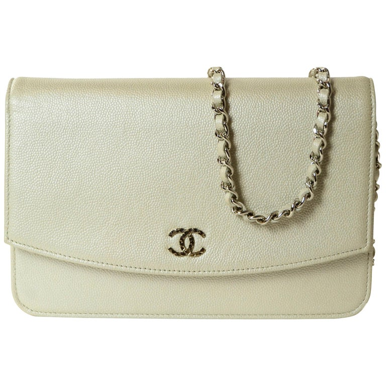 Chanel Silver Caviar Leather Wallet On A Chain WOC Crossbody Bag For Sale