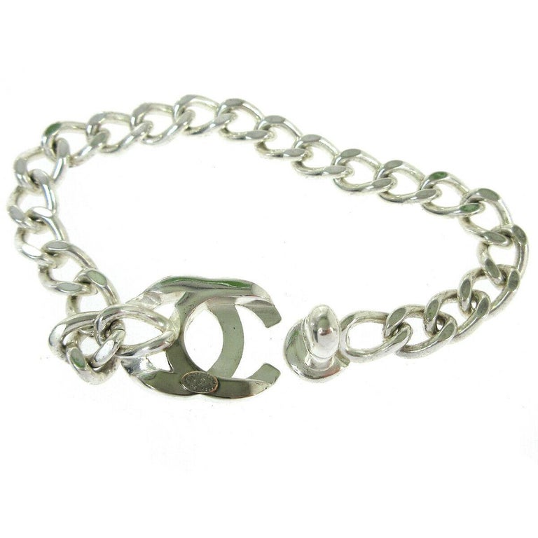 Chanel Silver Chain Link Turnlock Charm Logo Evening Bracelet in Box  In Good Condition For Sale In Chicago, IL