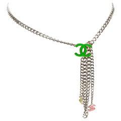 Chanel Silver Chain Neon CC Belt